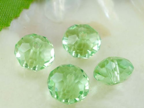 70 Pcs Green Crystal Faceted Rondelle Beads  8mm